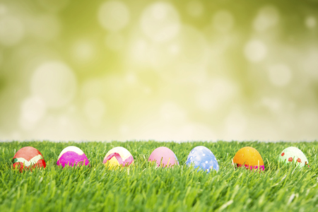 Image of seven colorful easter eggs hiding in the grass, shot with light glitter background