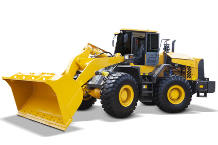construction machinery: Image of a new wheel loader with yellow color and a big scoop, isolated on white background Stock Photo