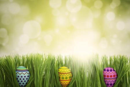 huevos de pascua: Imagen de tres huevos de Pascua de colores escondidos en la hierba, tiro con fondo de brillo de luz Foto de archivo