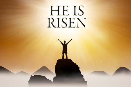 risen christ: Silhouette of Christian person standing on the rock with text He is risen Stock Photo