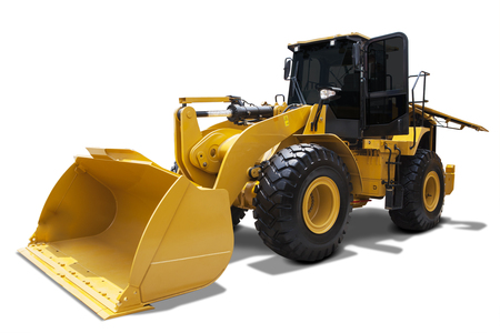 wheel loader: Picture of wheel loader with a steel scoop, isolated on white background