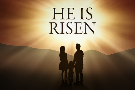 he: Silhouette of christian family looking at bright text He is risen on the sky, horizontal shot