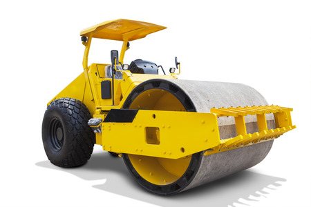 blacktopping: Image of a modern road roller with yellow color, isolated on white background