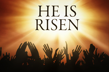 and he shines: Silhouette of people hands worship to the sky with text He is risen Stock Photo