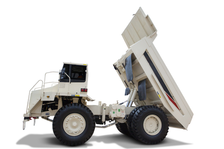 mining truck: Image of white dump truck with big body, isolated on white background Stock Photo