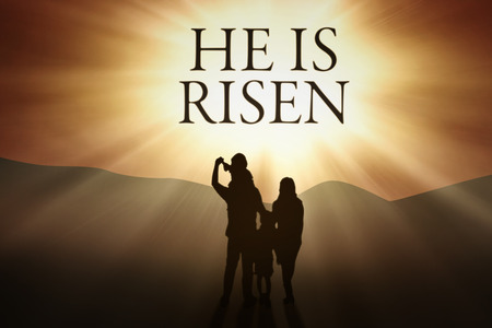 and he shines: Silhouette of happy family looking at text He is risen on the sky Stock Photo