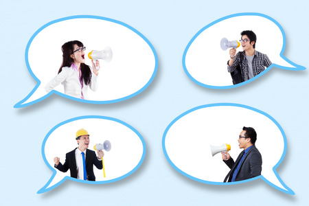 asian man: Group of successful people in the speech bubbles talking with megaphone
