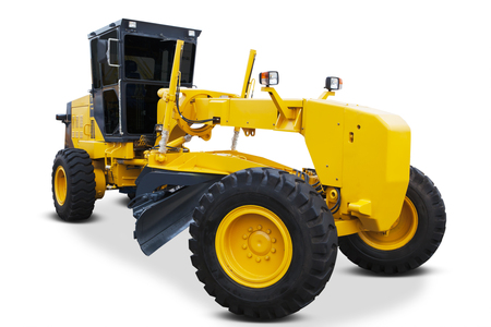 grader: Picture of a modern road grader with yellow color, isolated on white background