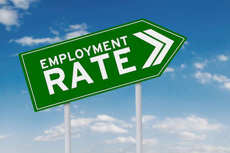 unemployment rate: Green signpost shaped upward arrow with an employment rate text, shot under clear sky
