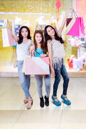 purchase: Portrait of happy teenage girls standing in the mall while holding shopping bags