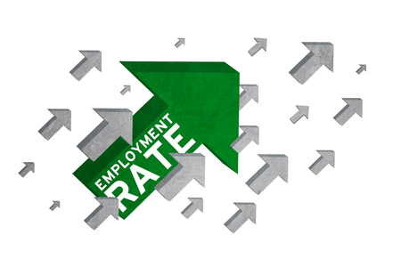 unemployment rate: Image of employment rate text on the upward arrow sign, symbolize of growing employment rate Stock Photo
