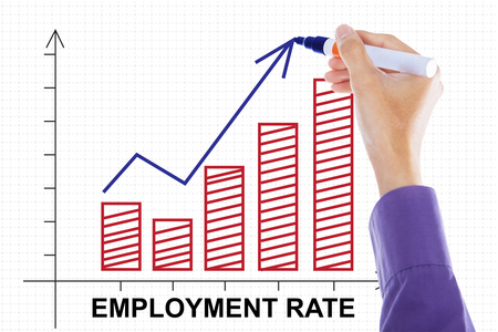 unemployment rate: Image of businessman hand drawing employment rate chart with upward arrow on the whiteboard Stock Photo