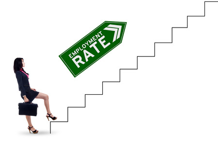 unemployment rate: Picture of female job seeker carrying briefcase and walking on the stairs with employment rate text, isolated on white background