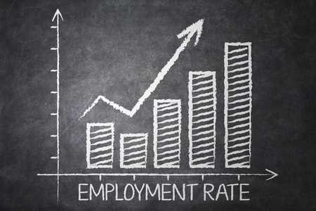 employment: Image of employment rate chart with upward arrow on the chalkboard