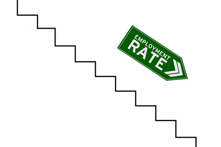 unemployment rate: Image of declining arrow sign with reduction graph of employment rate, isolated on white background