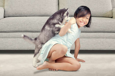 little girl sitting: Portrait of a joyful little girl having fun with siberian husky puppy on the floor at home Stock Photo