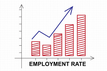 unemployment rate: Growing chart sign of employment rate with upward arrow on the whiteboard