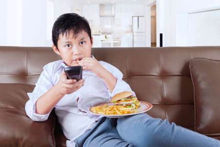 junk: Little boy enjoying cheeseburger and french fries while sitting on the sofa and watching tv at home