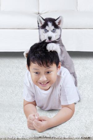 amigos abrazandose: Cuadro de un pequeño cachorro de Husky jugando en la sala de estar con un chico, un disparo en el hogar Foto de archivo