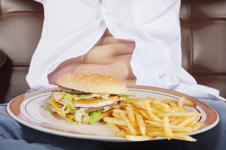 potbelly: Close up of a plate of cheeseburger and french fries with potbelly of a little boy sits on the sofa Stock Photo