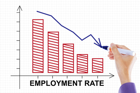 unemployment rate: Image of a businessman hand make a declining chart of employment rate with downwards arrow on whiteboard