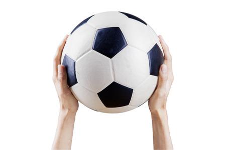 ballon foot: Portrait de mains tenant un ballon de football vers le haut. Isolé sur fond blanc Banque d'images
