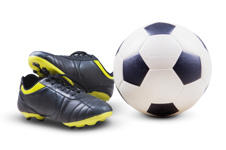 soccer shoes: Closeup of soccer shoes and ball isolated on white background