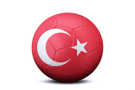 contestant: Image of a soccer ball with national flag of Turkey, isolated on white background