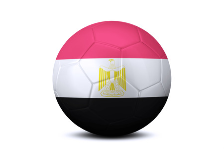league of nations: Image of a soccer ball with national flag of Egypt, isolated on white background Stock Photo