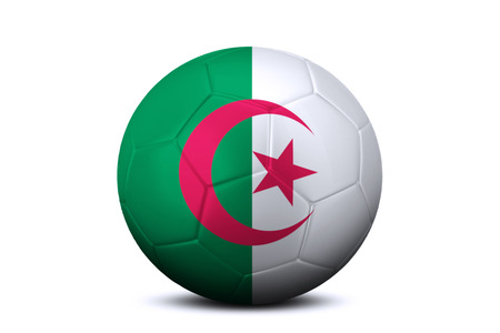 league of nations: Image of a soccer ball with national flag of Algeria, isolated on white background Stock Photo