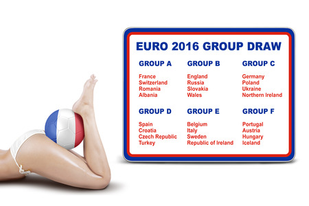 participant: Beautiful woman legs with a soccer ball and the list of participant of Euro 2016 France