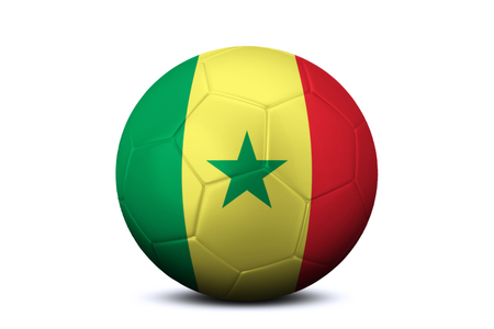 league of nations: Image of a soccer ball with national flag of Senegal, isolated on white background Stock Photo