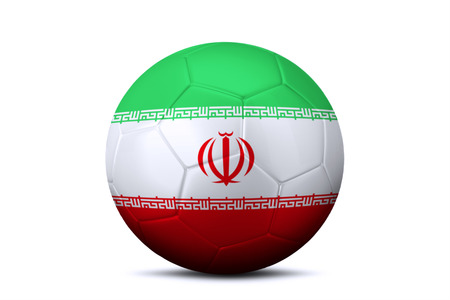 league of nations: Image of a soccer ball with national flag of Iran, isolated on white background
