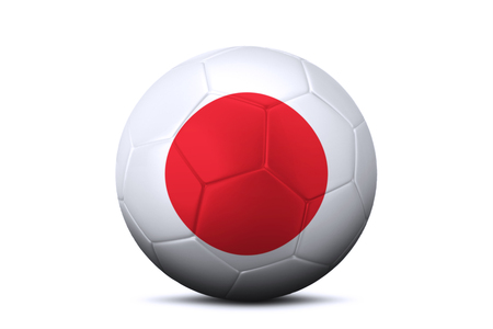 contestant: Close up of a soccer ball with national flag of Japan in the studio. Isolated on white background Stock Photo