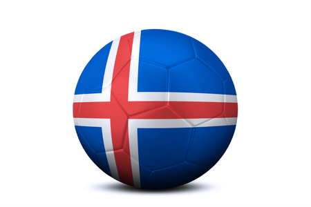 contestant: Image of a soccer ball with national flag of Iceland, isolated on white background