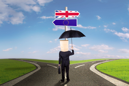 sceptic: Brexit concept. Businessperson standing on the road and looking at signpost with flag of European Union and Great Britain