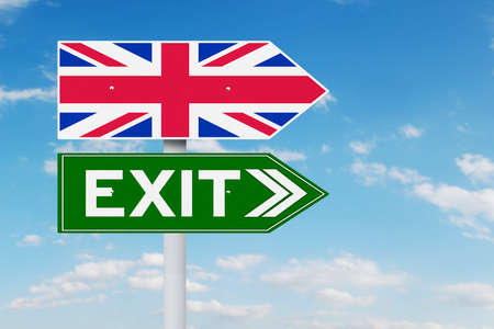 sceptic: Brexit concept. Image of signpost with national flag of United Kingdom and Exit word