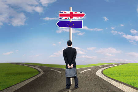 sceptic: Brexit concept. Male entrepreneur standing on the road with flag of England and EU on the signpost
