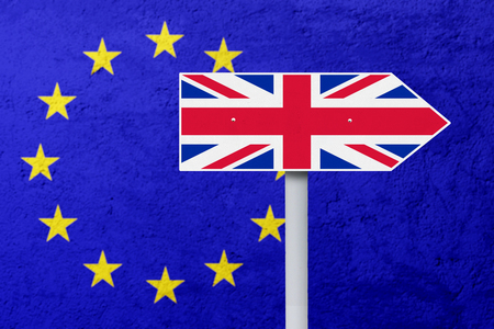 sceptic: Brexit concept. National flag of United Kingdom on the signpost with EU flag background Stock Photo