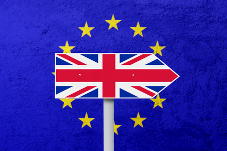 england politics: Brexit concept. National flag of England on the signpost with EU flag background Stock Photo