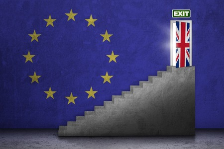 EU: Brexit concept. Image of a stairs toward exit door with national flag of UK and EU Stock Photo