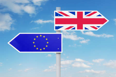 different way: Brexit concept. Guidepost with national flag of European Union and United Kingdom pointing at different way