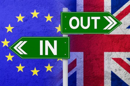 sceptic: Brexit concept. Signpost with two arrows pointing at flag of European Union and United Kingdom