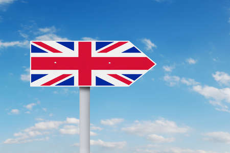 sceptic: Brexit concept. Image of guidepost with national flag United Kingdom under clear sky