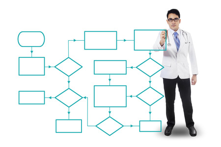 workflow: Portrait of a male doctor drawing empty flowcharts, isolated on white background