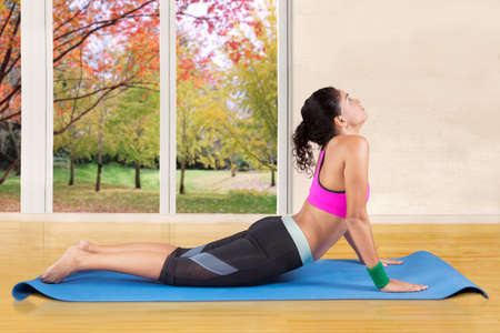 bhujangasana: Photo of healthy indian woman doing cobra pose on the mattress at home in autumn day Stock Photo