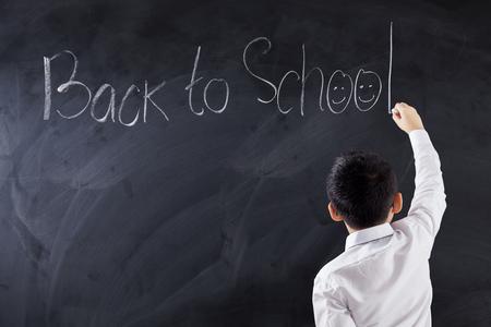 niños chinos: Espalda, vista, macho, elemental, escuela, estudiante, escritura, texto, regreso, escuela, pizarra, tiro, clase Foto de archivo