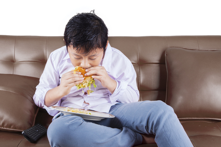 fat food: Portrait of a cute little boy sitting on the sofa while biting a cheeseburger Stock Photo