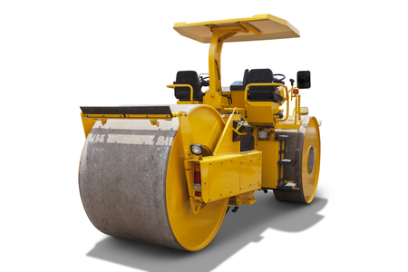 roller compactor: Image of a new road roller in the studio, isolated on white background Stock Photo