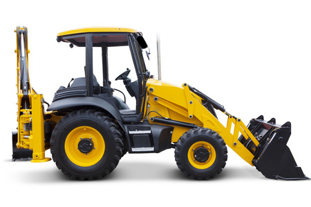 backhoe loader: Side view of a new wheel loaders machine in the studio, isolated on white background